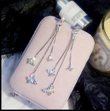 Fashion Lovely Butterfly Crystal Zircon Long Tassel Drop Dangle Earrings Jewelry