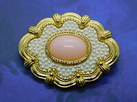 Vintage Avon Brooch Victorian Spring Faux Pearls Pink Cabochon Ornate Gold Tone