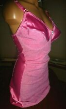 Vtg 42D Pink Body Girdle Short Satin Spandex Stretch Lace Shaper Full Bra Slip