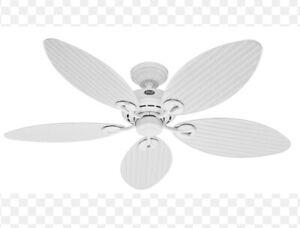 Hunter Fan Company 23979 Bayview 54 inch White Outdoor Ceiling Fan NEW OPEN BOX