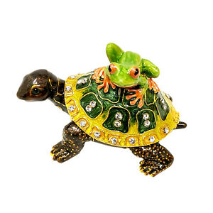 Turtle Tree Frog Piggyback Trinket Box Jewelry Ring Storage Green Bejeweled NEW