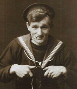 Fantastic WW1 Photo Postcard HMS Britannia Sailor Cigarette Darby West Bromwich