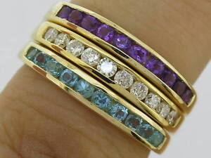 R165 Genuine 9ct Gold Natural Gemstone Wedding Band Ring Channel-set in yr size