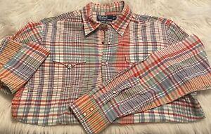 Ralph Lauren Polo Men Classic Western Pearl Snap Shirt Size L