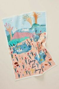 NWT Anthropologie Spring has Sprung Embroidered Kitchen Towel