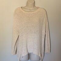 Eileen Fisher Women's Sweater Size XS Cotton Blend Ivory Open Weave