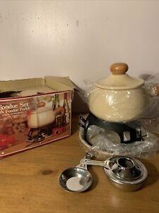 Vintage Fondue Set Porcelaine Enameled 1.9 Litre