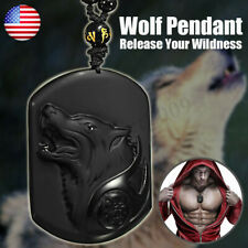 Natural Handwork Carved Black Obsidian Wolf Head Lucky Pendant w/Beads Necklace