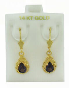 ALEXANDRITE 1.26 Cts DANGLING EARRINGS 14K YELLOW GOLD ** New With Tag **