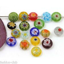 50pcs Mixed Flower Ablate Millefiori Glass Beads Lampwork Loose Space Beads 6mm