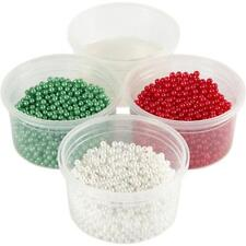 3 Pearl Clay Modelling Compound Green White Red Plastic Bead Christmas Craft 25g
