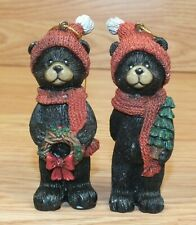 Set of 2 Unbranded Holiday Christmas Winter Style Black Bears Tree Ornaments