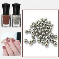 100* 4mm Stainless Steel Nail-Art Polish Mixing Balls Glitter Agitator Varn E6A6