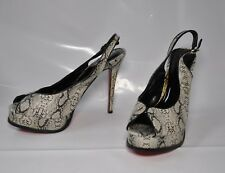 "Liliana black/white snakeskin look hi-heel slingback - Size 11, 5.5"" heel"
