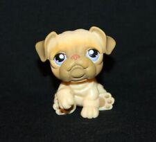 Littlest Pet Shop Tan Bulldog #135 Purple Eyes Bull Dog brown blue yellow (Bd01)