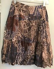 E C I New York Woman's Petite Size 8P Flare Tiered Skirt Silk Lined Blue Brown