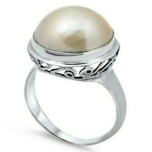 Bali Ring Sterling Silver 925 Genuine White Mabe Pearl Face Height 18 mm Size 10