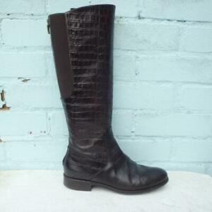Hobbs Leather Boots Size UK 5 Eur 38 Womens Shoes Elasticated Croc Brown Boots