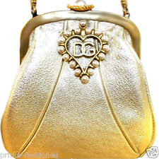 Dolce & Gabbana Metallic Gold Leather Pearl Heart Embellishment Evening Handbag