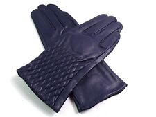 Ladies Womens Premium High Quality Genuine Soft Leather Gloves Fur Lined Warm Navy Small