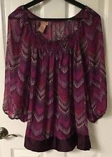 MISTY & MAX Pretty Peasant Style Blouse Bead Embellished size L Super CUTE! EUC!