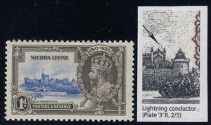 "Sierra Leone, SG 181c, MHR ""Lightning Conductor"" variety"