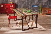 Table de cuisine salon séjour rectangulaire plateau manguier MULTICOLORE metal
