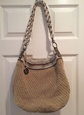 THE SAK KNIT CROCHET Purse Shoulder Bag ZIP BEIGE CREAM TAN PINK METAL NICE HOBO