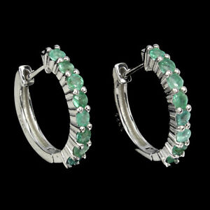 Unheated Round Emerald 2.5mm 14K White Gold Plate 925 Sterling Silver Earrings