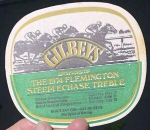 Gilbeys- Sponsors 1974 Flemington Steeplechase Treble Card Coasters(2)