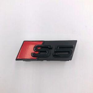 1pcs Audi S5 S-line Front Grille Badge Car External Accessory Emblem Gloss Black