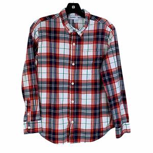 Boys Old Navy XL 14 16 Button Down Plaid Shirt Red White LS Cotton Blend