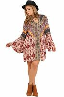 Umgee Womens Berry Multi-Print Trumpet Sleeve Dress S M L XL 1X 2X
