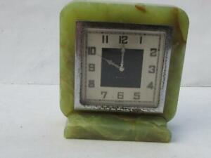 ART DECO GREEN SMITHS MADE 8 DAY ONYX GREEN MANTEL CLOCK - SPARES/REPAIR
