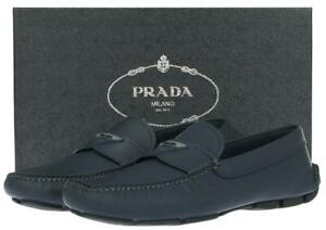 NEW PRADA BLUE MATTE LEATHER LOGO DRIVER MOCCASINS LOAFERS SHOES 11/US 12