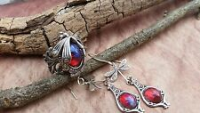 Dragonfly Curved Tail Ring & Earrings Fire Opal Spectacular Fall Fashions Sale