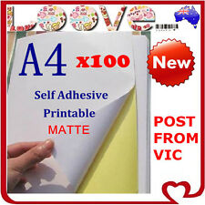 100 x A4 White Matte Self Adhesive Sticker Paper Sheet Label Laser Inkjet Print