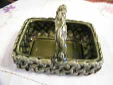 Collectible Signed Inarco E-3055 Pottery Basket Ornate Texture Green Nice