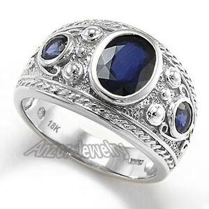 Men's Ceylon 2.70 ct Sapphire Ring 18k Solid White Gold Ring 16gr in size 10