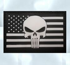 US PUNISHER US FLAG RUBBER PVC GLOW SEALS BLACK OPS VELCRO® BRAND FASTENER PATCH