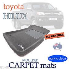 To suit Toyota Hilux Dual Cab 2005 - 2011 GREY CARPET 3D Car Floor Mats