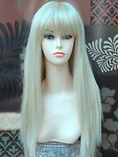 Forever Young Lady Wig Long Platinum Blonde Full Wig Sleek Straight Fashion Wig