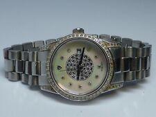 """Croton Diamond Case Quartz Ladies Watch MOP Face Date 28mm Case for 6.5"""" Wrist"""