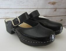 Inga from Sweden US 6.5 - 7 Black Patent Leather Mary Jane Buckle Clogs EU 37