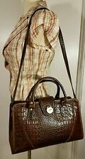 VINTAGE Brahmin Melbourne BROWN CROCODILE LEATHER Satchel CROSS BODY DOCTOR BAG