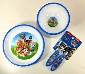 New Playtex PAW PATROL Mealtime Set PLATE BOWL UTENSILS Flatware BLUE Plastic
