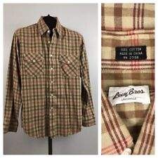 1980s Button Down Shirt / 80s Cotton Flannel Plaid Western Shirt L/S / Small