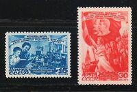 Russia 1947 MNH Sc 1123-1124 Mi 1114-1115 Day of Women.Flags,Stalin,Lenin