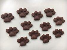 Edible Sugarpaste Paw Prints  - Cake Topper X 12 Brown