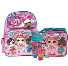 "LOL Surprise 12"" Small School Backpack Lunch Bag Water Bottle 3pc Book Bag Set"